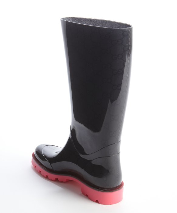 Gucci Black and Bright Pink Ssima Rubber Rain Boots in Black for ...