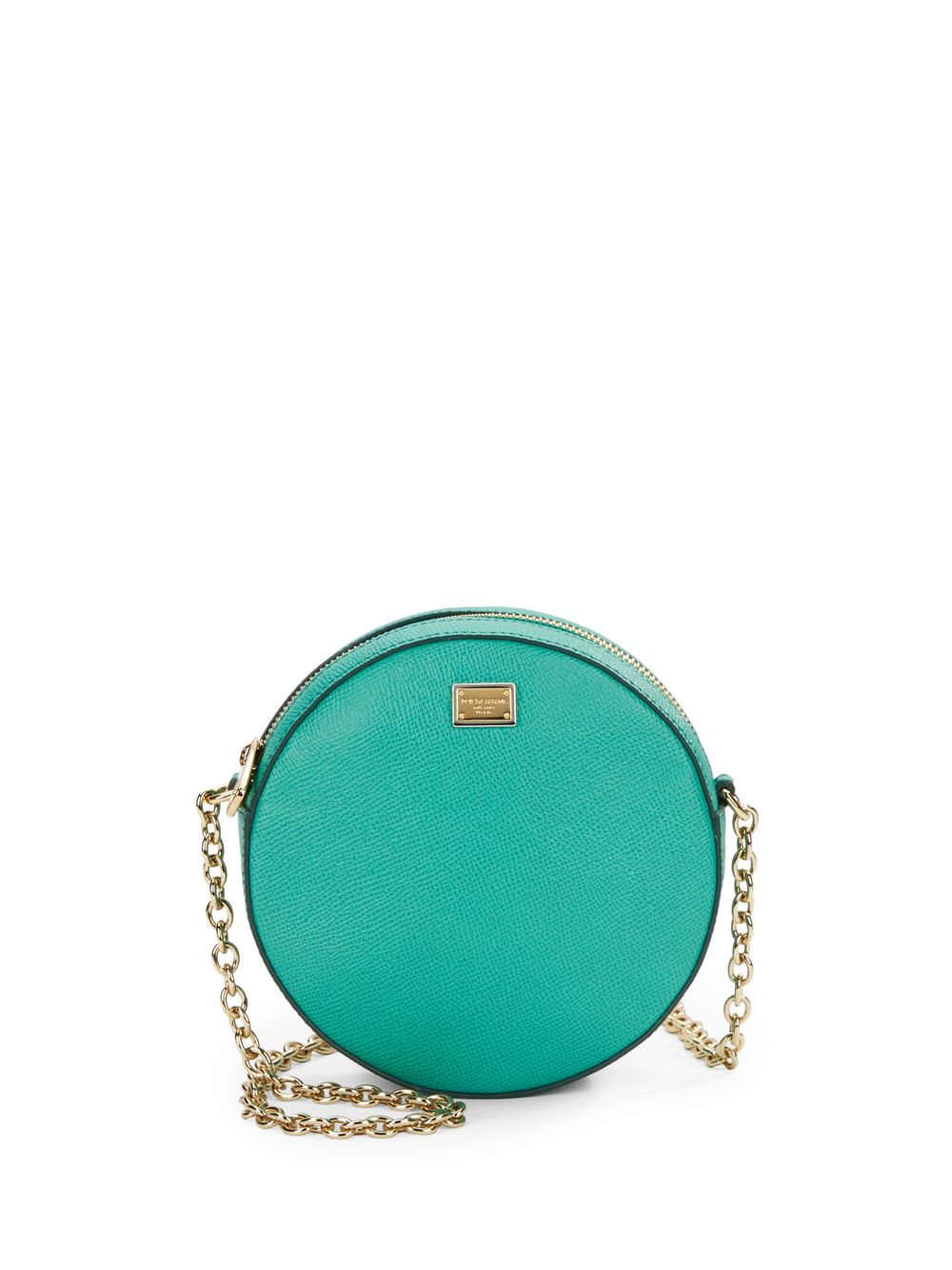 Lyst - Dolce   Gabbana Round Glam Textured Leather Mini Bag in Green 7efa64e283326