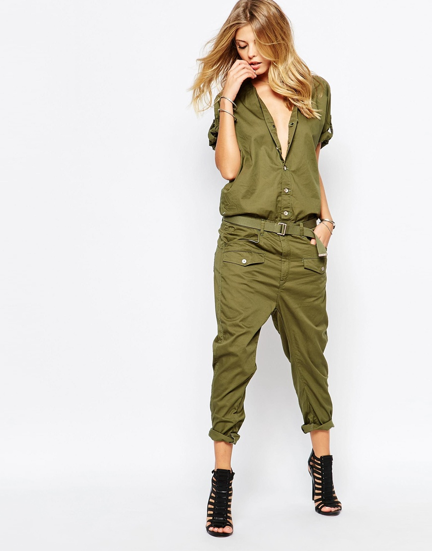 g star raw cargo jumpsuit in natural khaki lyst. Black Bedroom Furniture Sets. Home Design Ideas