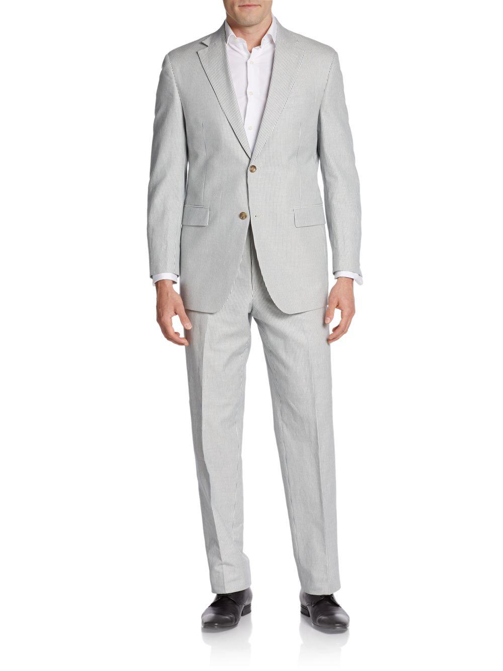 Hickey Freeman Seersucker Twobutton Suit In Gray For Men