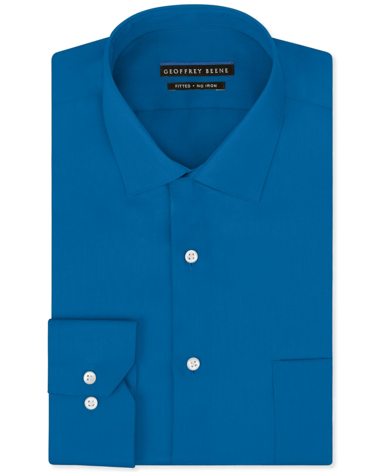 Geoffrey beene noniron sateen solid dress shirt in blue for Dress shirts for big and tall