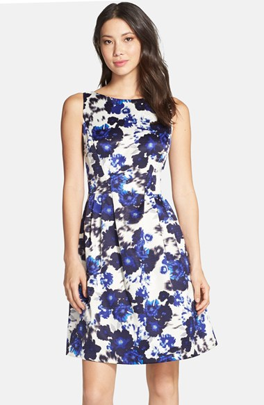 9257f6a3511 Lyst - Vince Camuto Floral Print Fit   Flare Dress in Blue