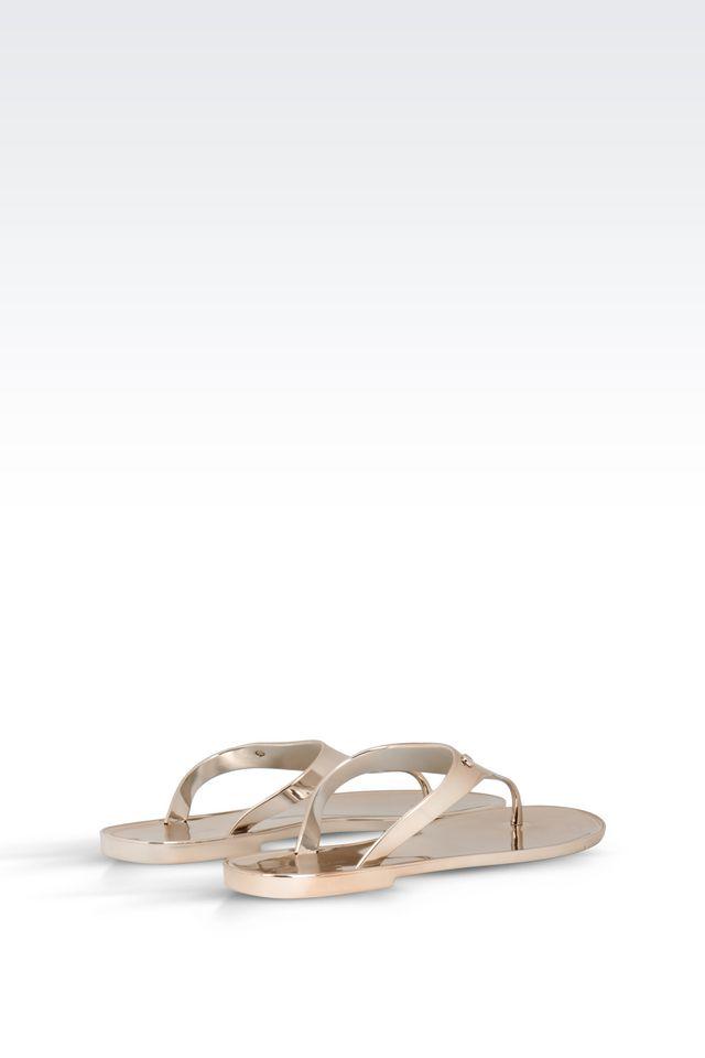 891161317 Lyst - Armani Jeans Metallic Rubber Flip-Flops in Metallic