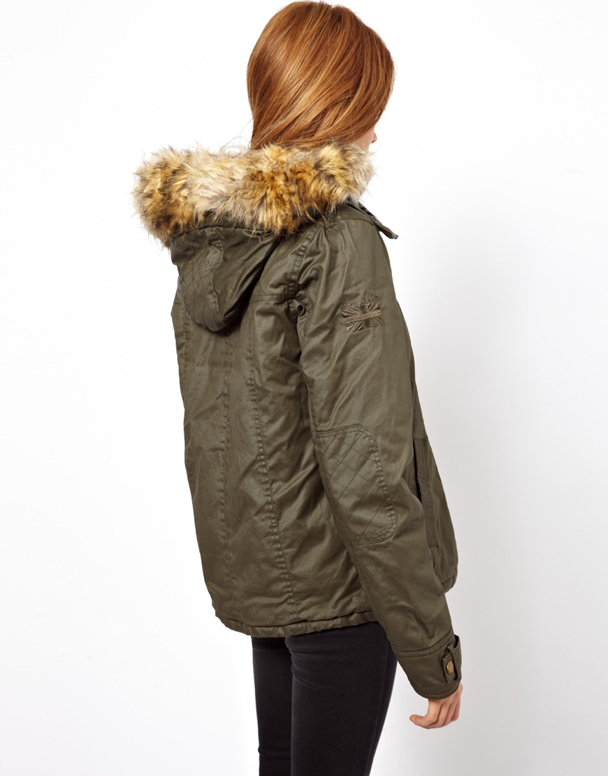 Pepe jeans Waxed Duffle Coat with Faux Fur Trimmed Hood in Natural ...