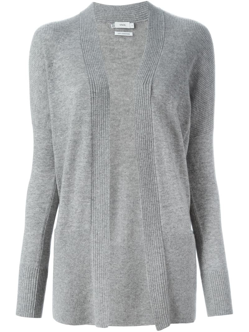 Vince Open Front Cardigan in Gray | Lyst