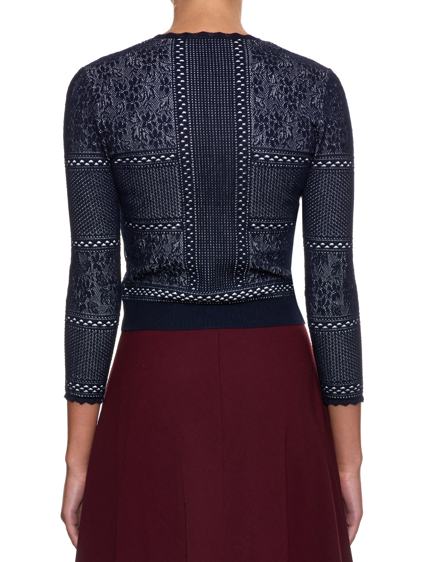 Alexander mcqueen Victorian-style Lace Cropped Cardigan in Blue | Lyst