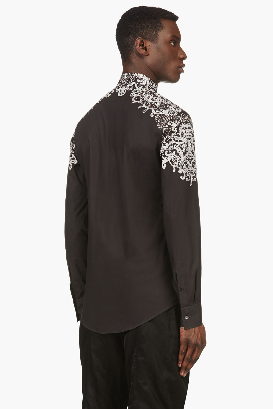 Lyst alexander mcqueen black and ivory lace print shirt for Alexander mcqueen shirt men