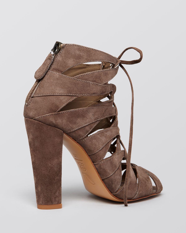 Delman Lace Up Sandals - Darci High Heel in Blue | Lyst