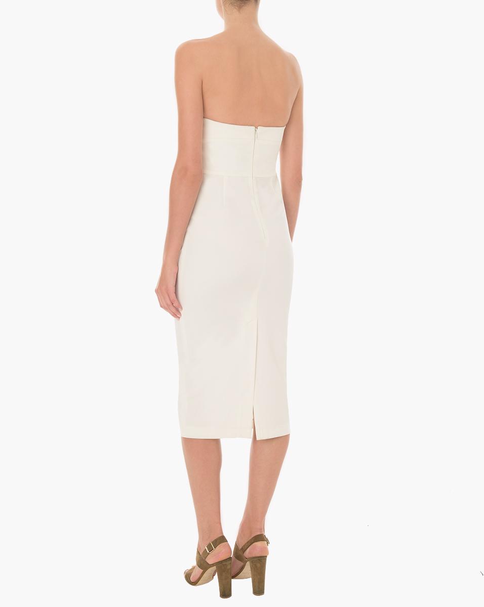 veronica beard edelia twist bandeau bustier dress in white lyst. Black Bedroom Furniture Sets. Home Design Ideas