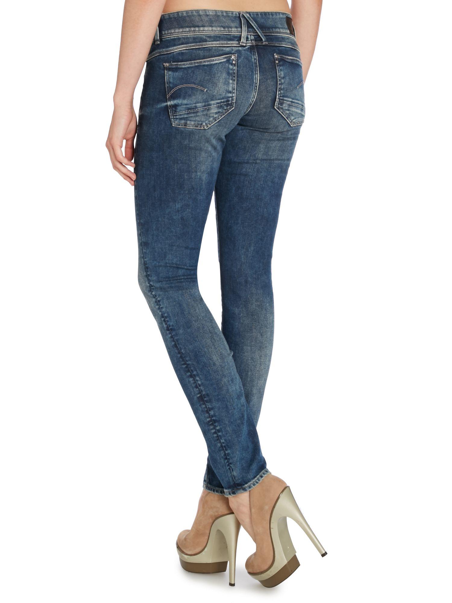 g star raw lynn mid skinny jean in malk denim in blue lyst. Black Bedroom Furniture Sets. Home Design Ideas