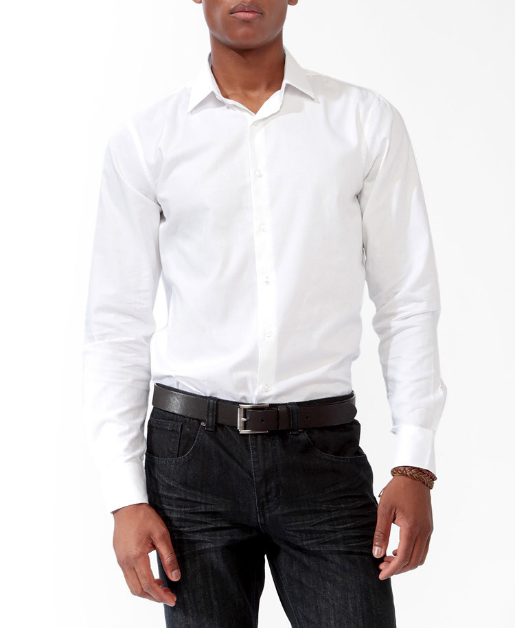 Lyst forever 21 classic fit dress shirt in white for Classic white dress shirt
