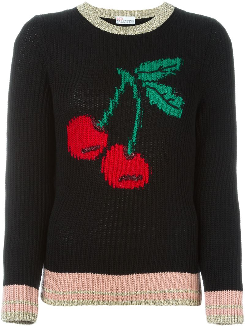 Red valentino Cherry Intarsia Sweater in Black | Lyst