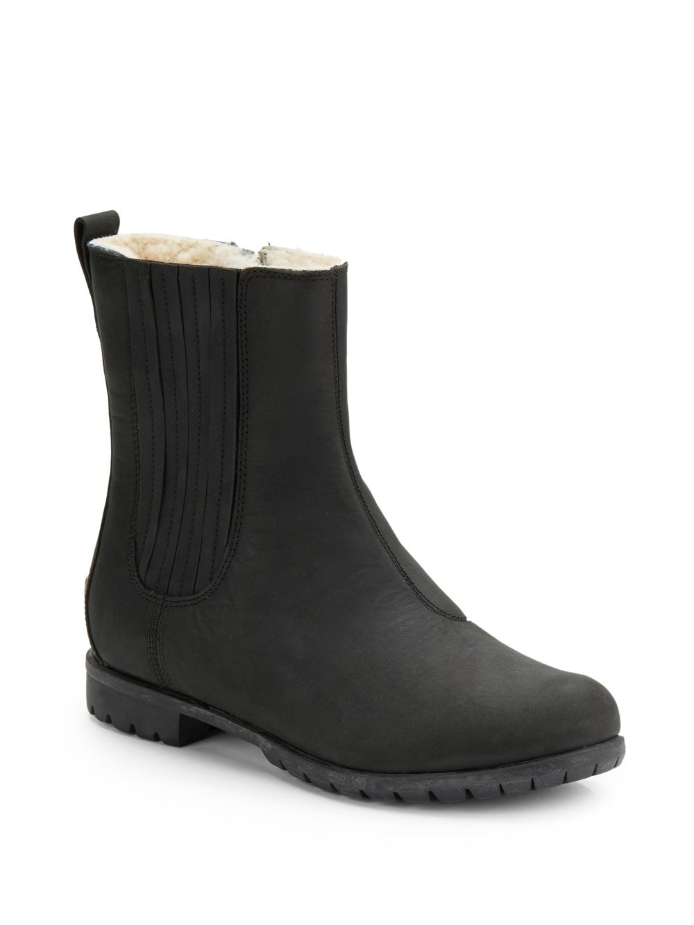Ugg Ramos Sidezip Short Leather Boots in Black | Lyst