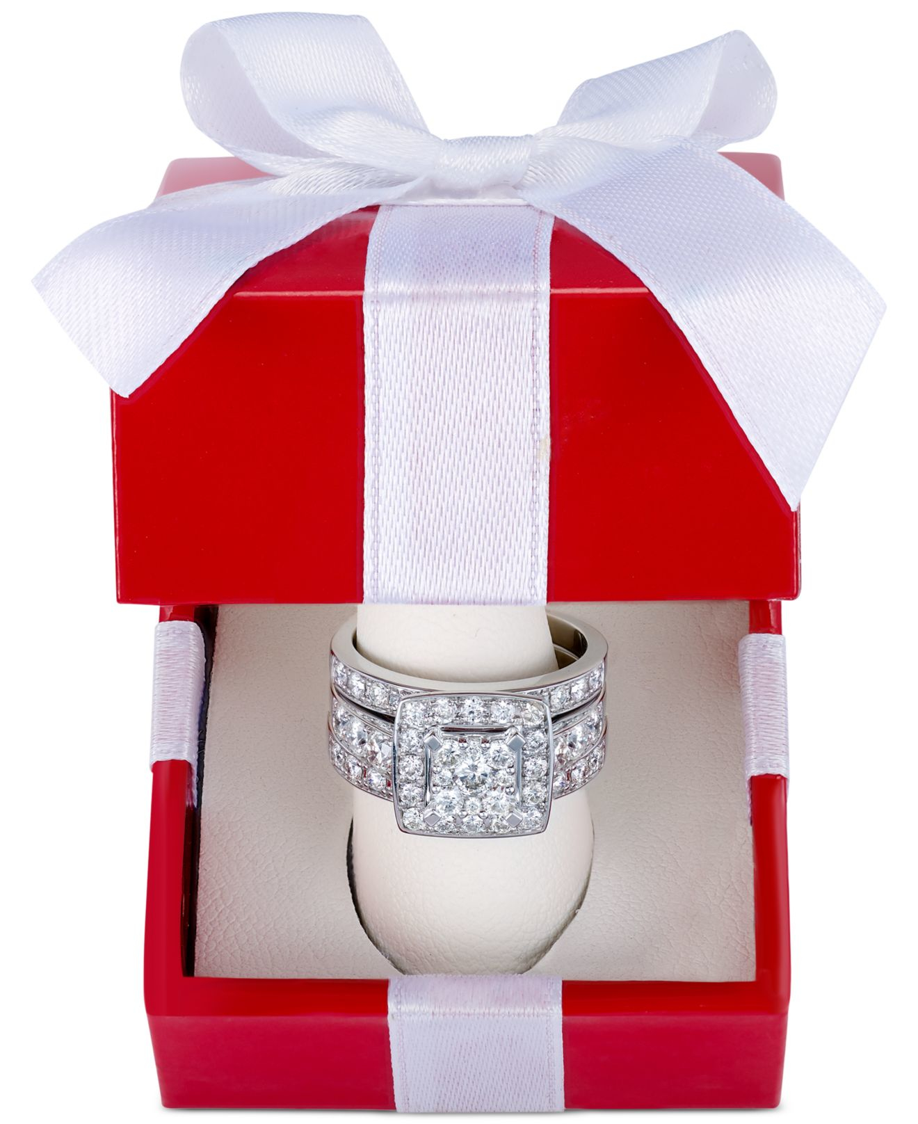 Macy s Diamond Engagement Bridal Set 2 Ct T w In 14k White Gold in Me