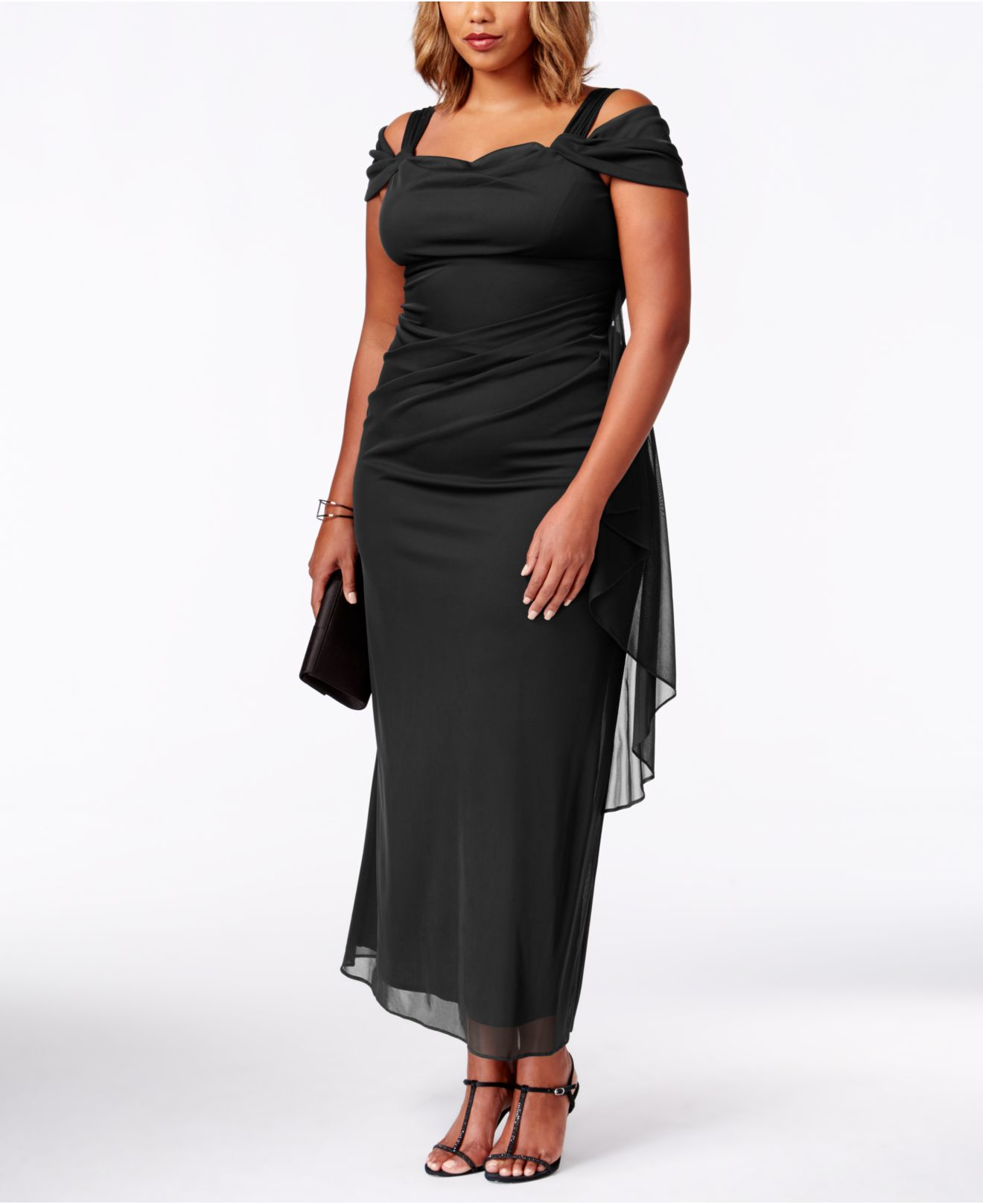 25754cf8 R & M Richards Plus Size Cold-shoulder Draped Gown in Black - Lyst
