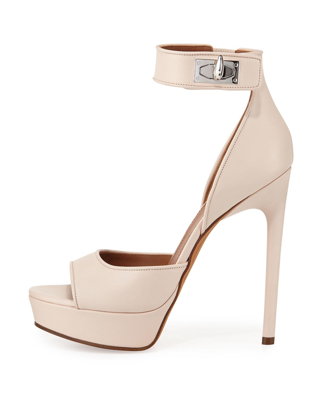 Shark Lock Suede Platform Sandals - Beige Givenchy pGdnTPcGgq
