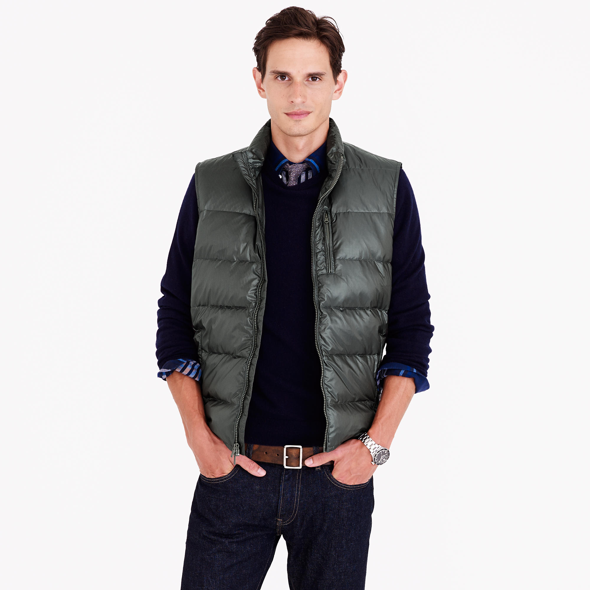 Lyst j crew lightweight down puffer vest in green for men for J crew mens outfits