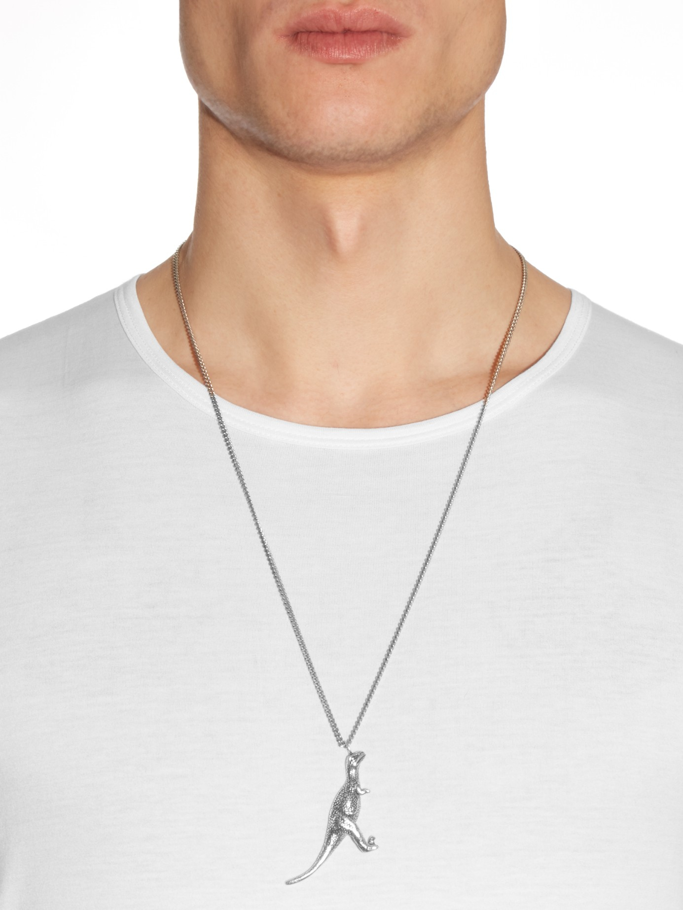 Lyst Saint Laurent Dinosaur Necklace In Metallic For Men