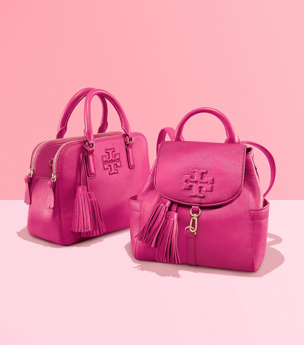 1d119e1df18a Tory Burch Thea Small Leather Satchel in Pink - Lyst