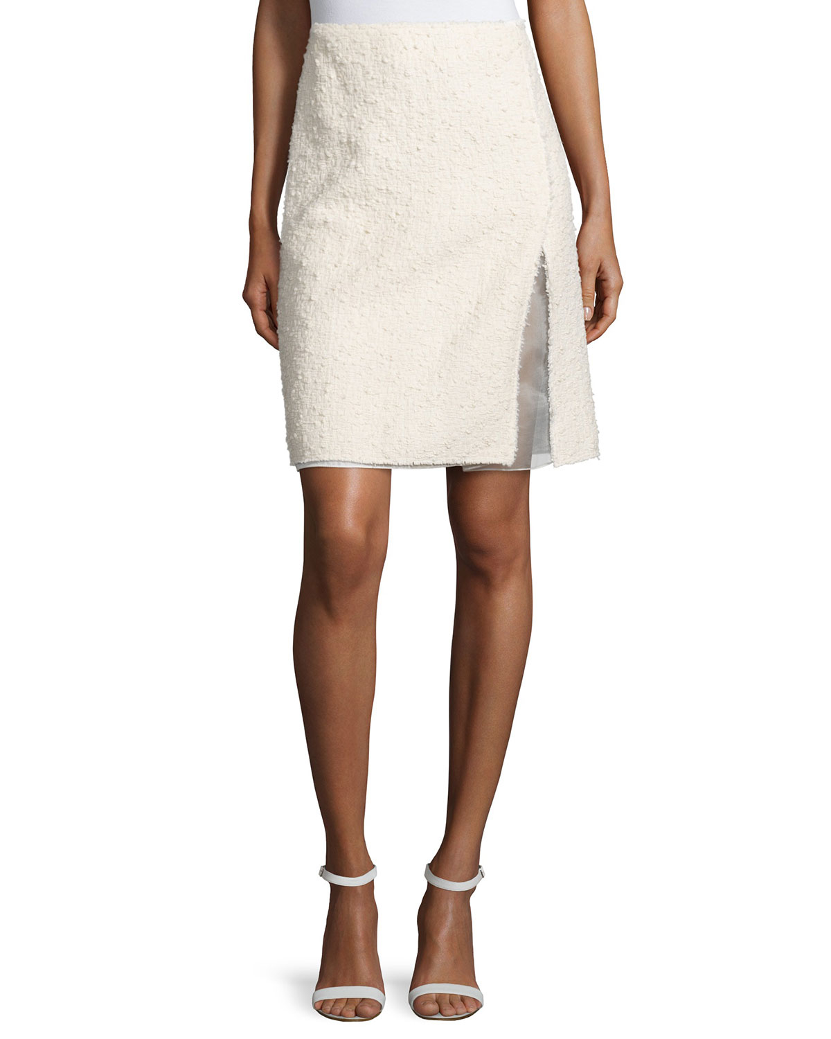 ricci faux wrap pencil skirt in white lyst