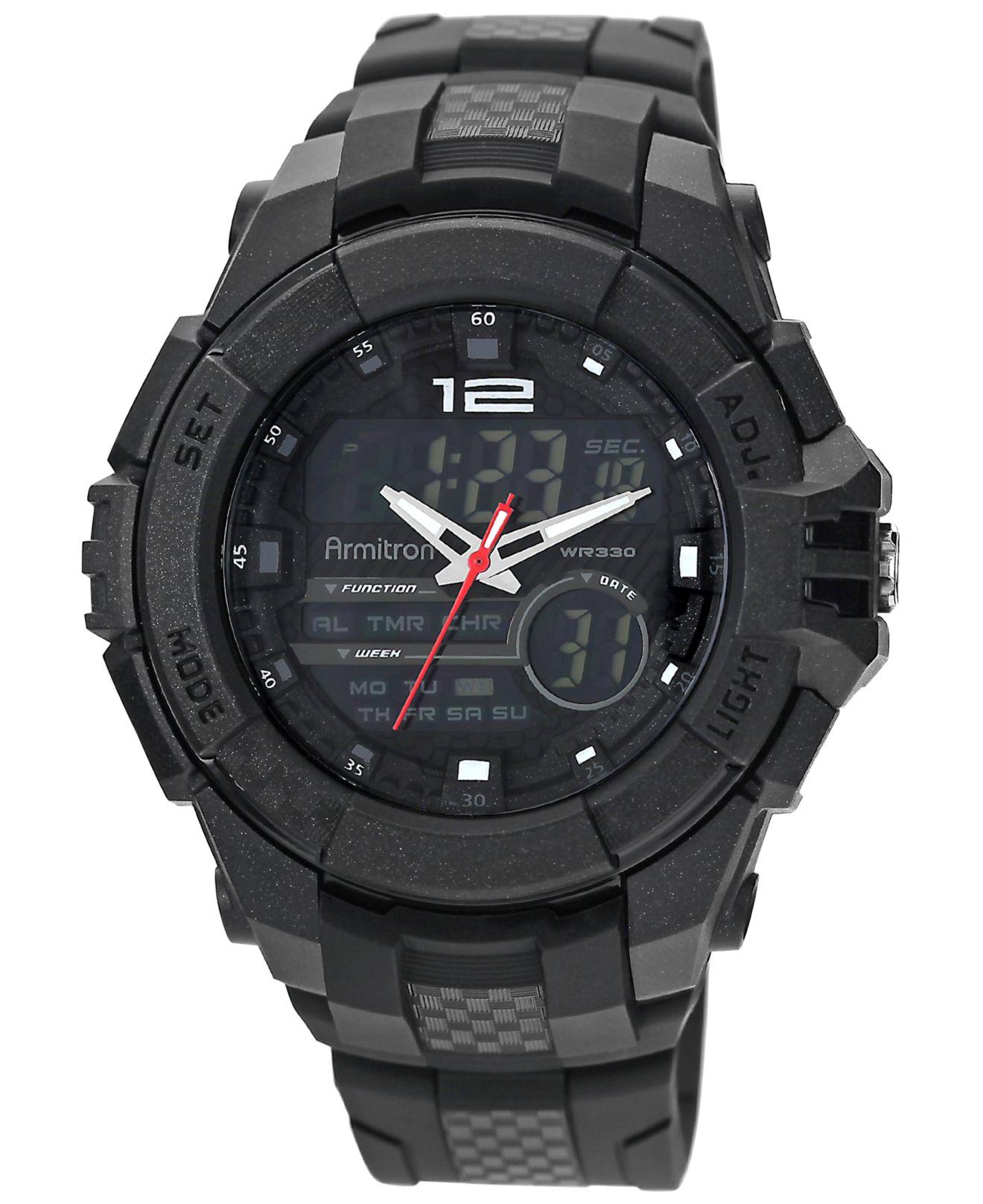 armitron s analog digital chronograph black resin