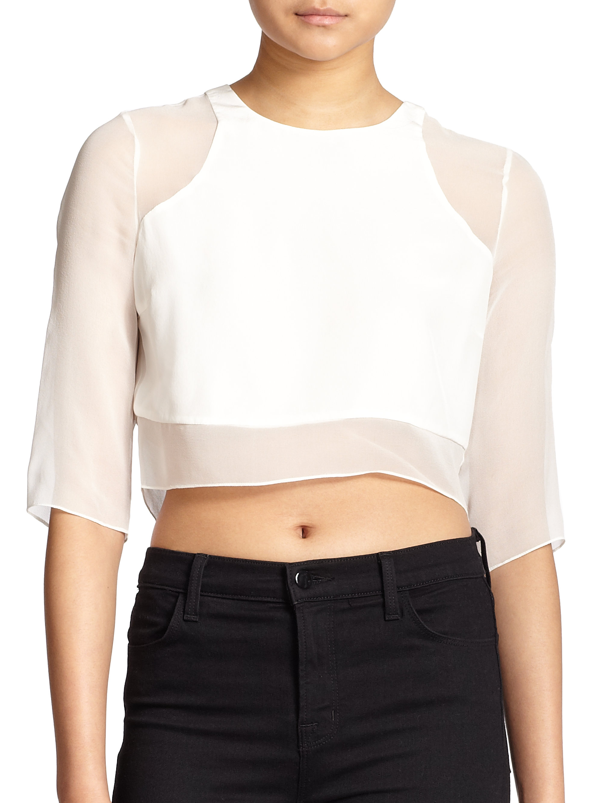 5f255eaf6846cb Lyst - Elizabeth and James Enno Silk Crop Top in White