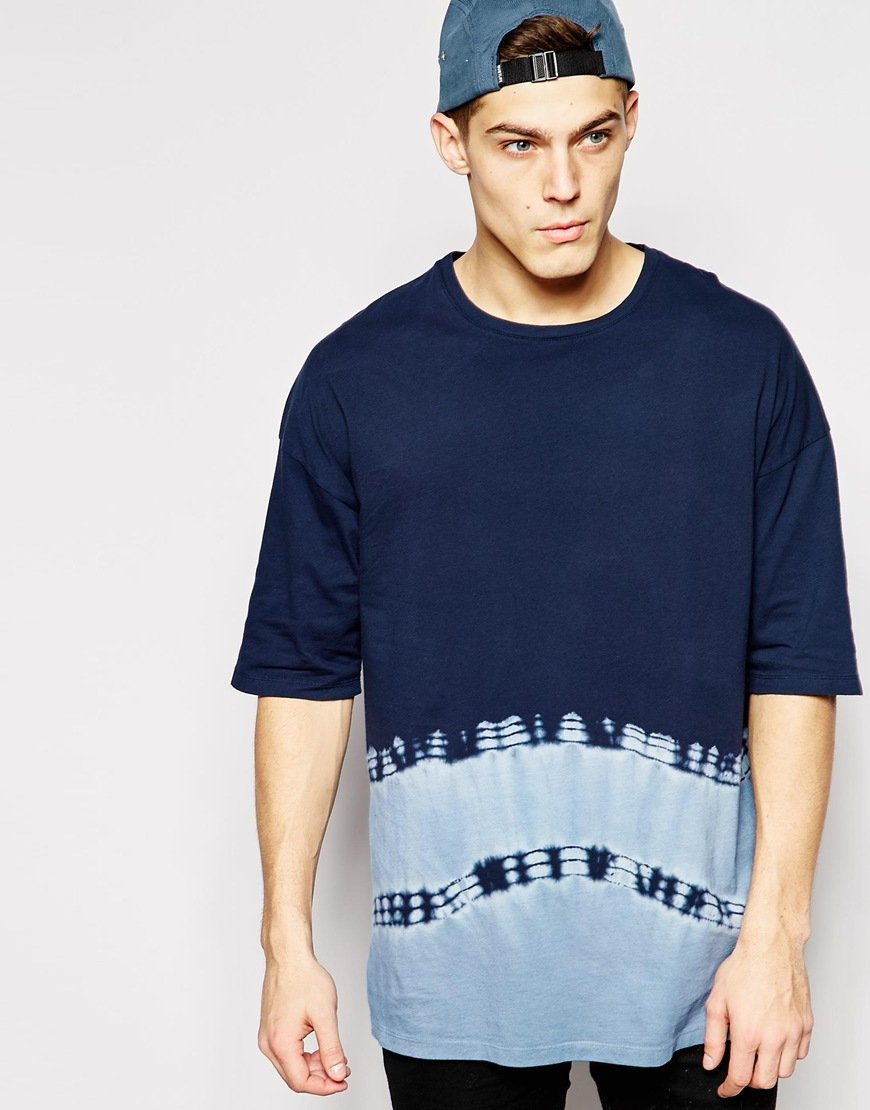 Lyst asos longline t shirt with bleach effect and for Bleach and tone shirt