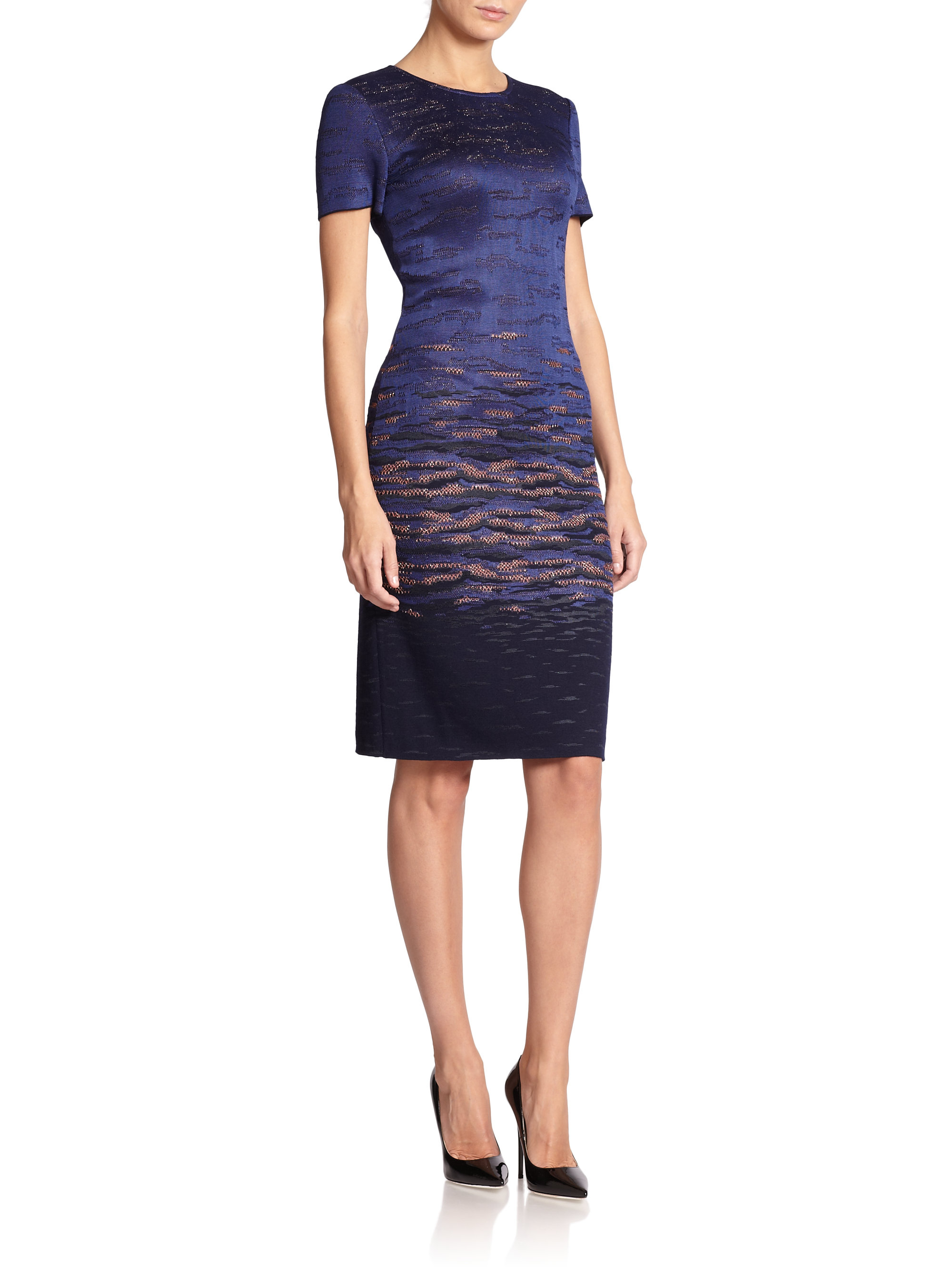 ee1fd384dfac Lyst - St. John Sunset Jacquard Knit Dress in Blue