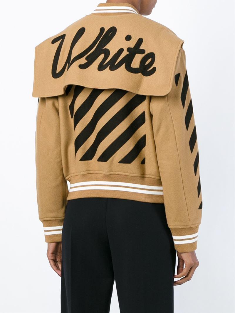 Off-white c/o virgil abloh Striped Varsity Jacket in Brown for Men ...