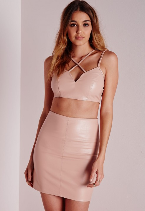 Missguided Faux Leather Mini Skirt Nude in Natural | Lyst