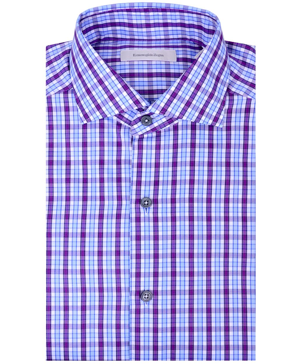 Ermenegildo Zegna Purple And Blue Plaid Dress Shirt In