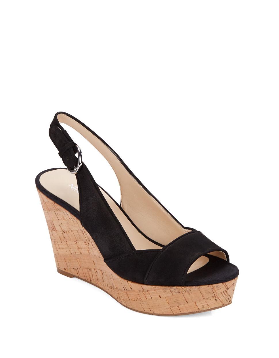 5d4a255e3d9 Lyst - Nine West Caballo Leather Platform Wedge Sandals in Black