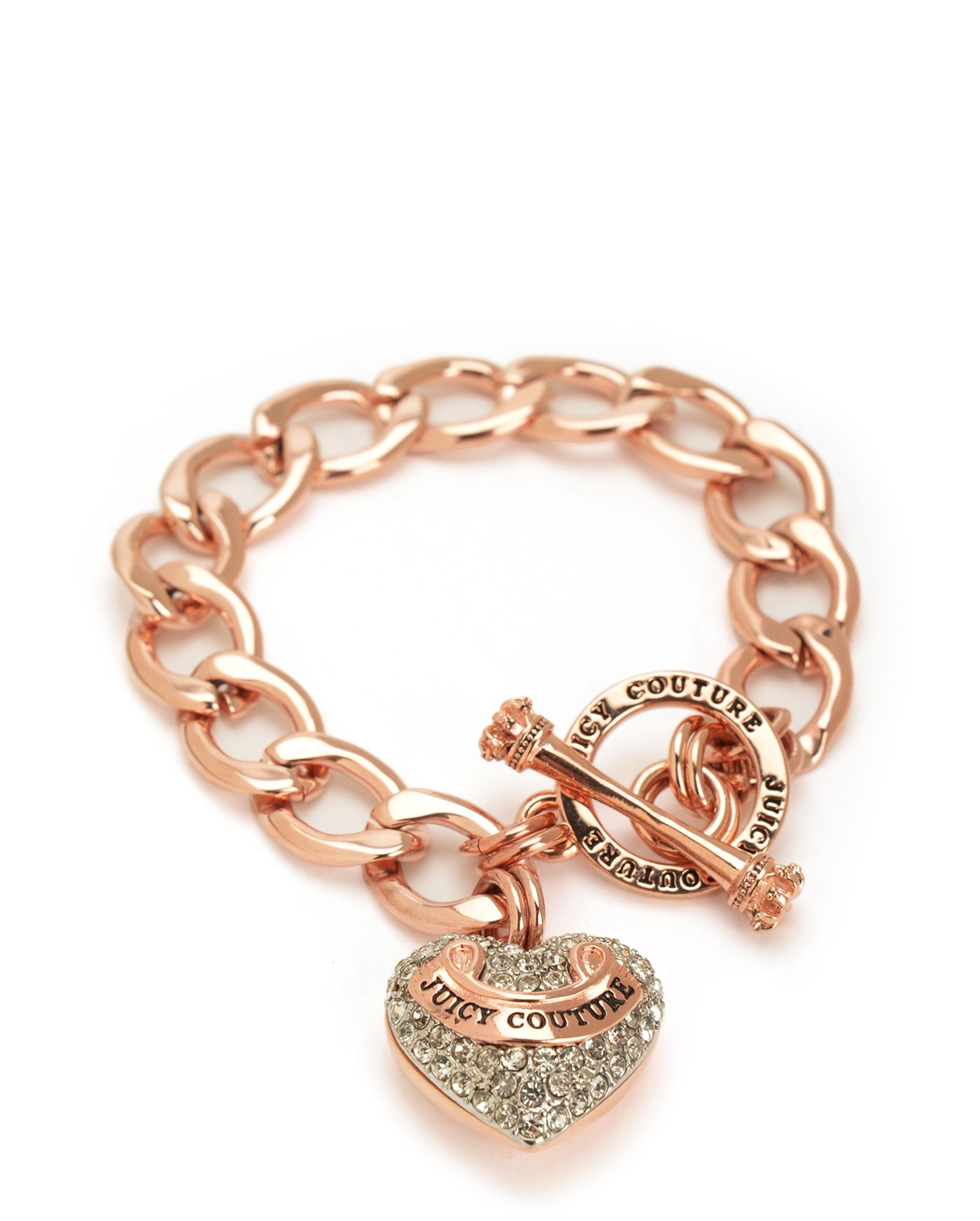 Juicy couture Pave Banner Heart Starter Bracelet in Pink ...