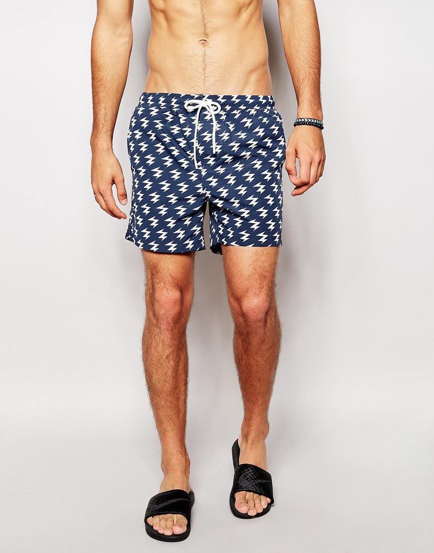 Brave soul Lightning Swim Shorts in Blue for Men