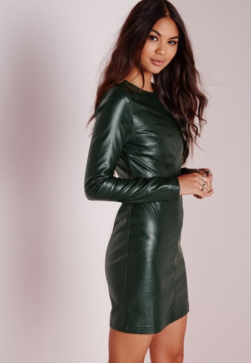 Missguided Faux Leather Long Sleeve Bodycon Dress Green In