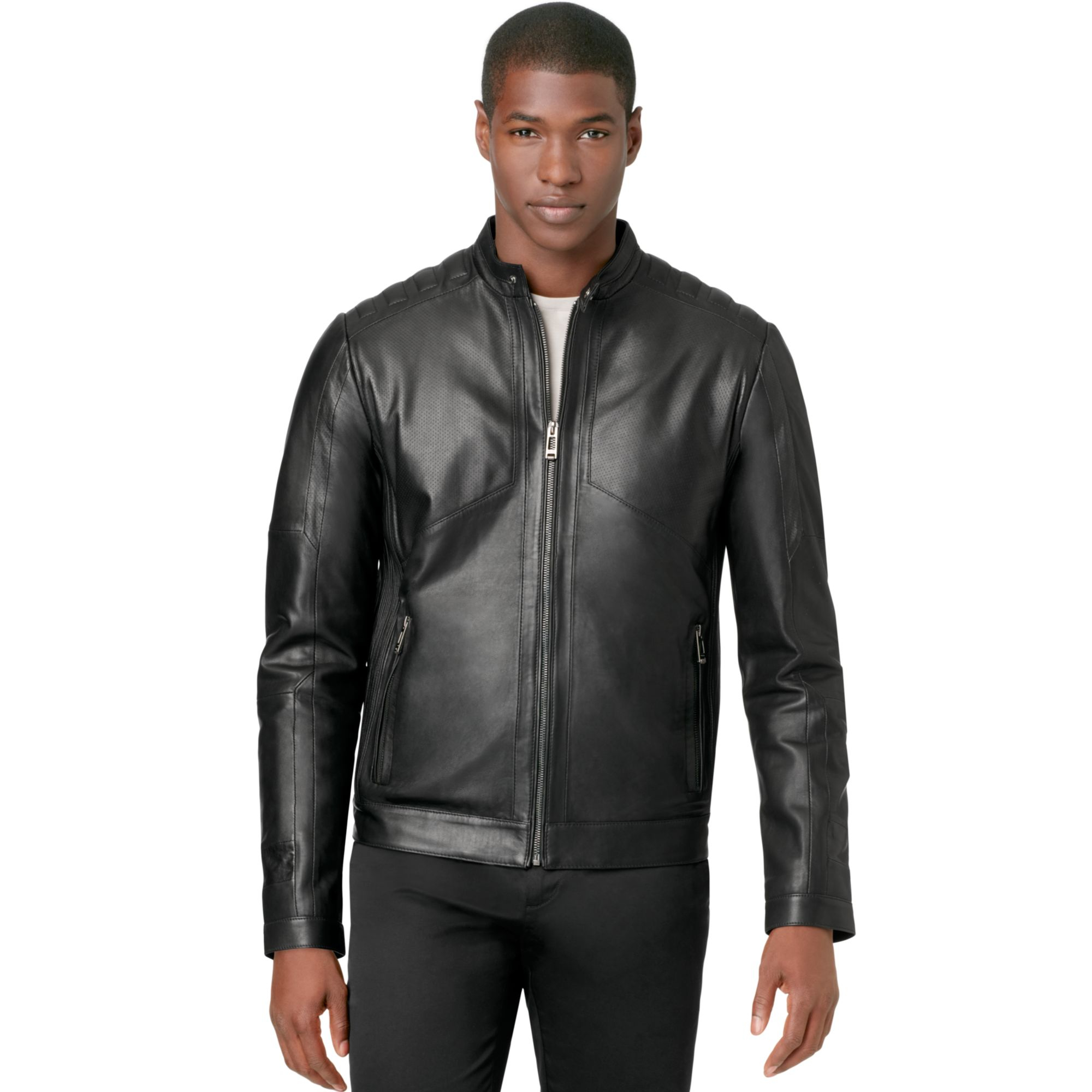 Calvin Klein Ck Premium Perforated Leather Jacket In Black