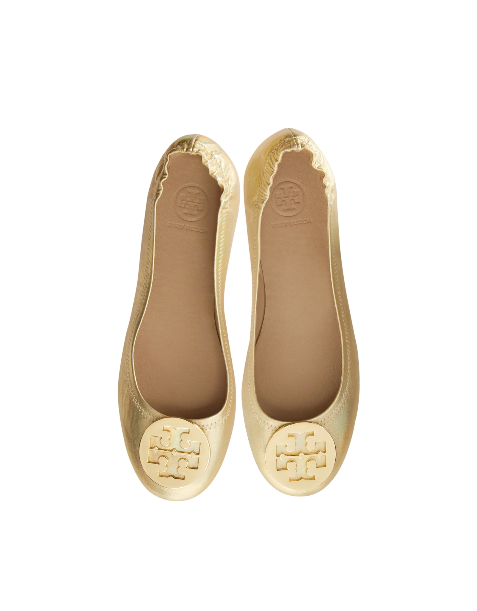 ed92e0b9d Lyst - Tory Burch Minnie Leather Travel Ballet Flats in Natural