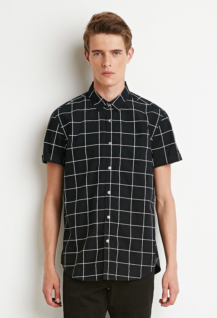 Forever 21 Grid Print Shirt in Black for Men | Lyst