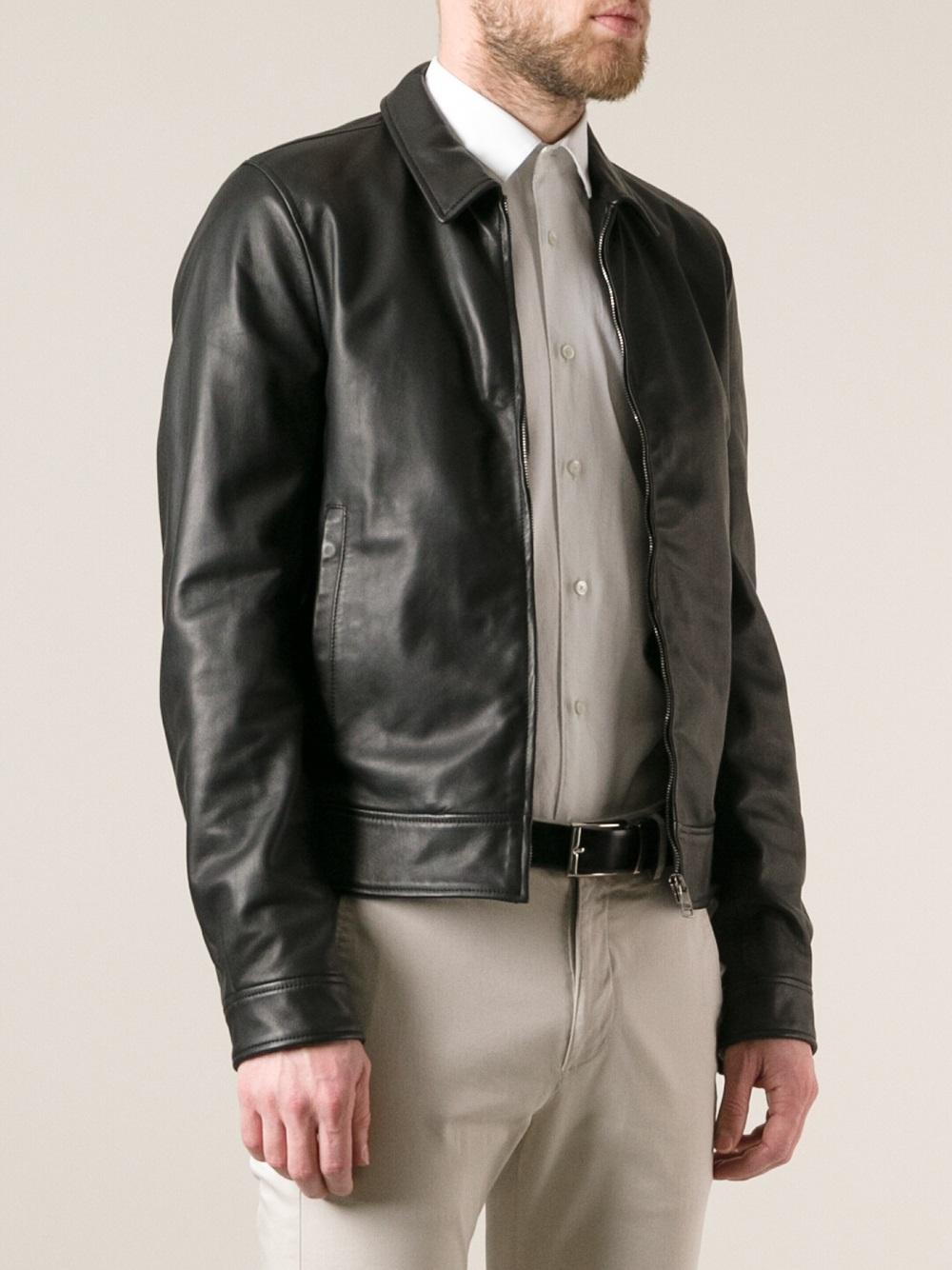 dolce gabbana leather jacket in black for men lyst. Black Bedroom Furniture Sets. Home Design Ideas