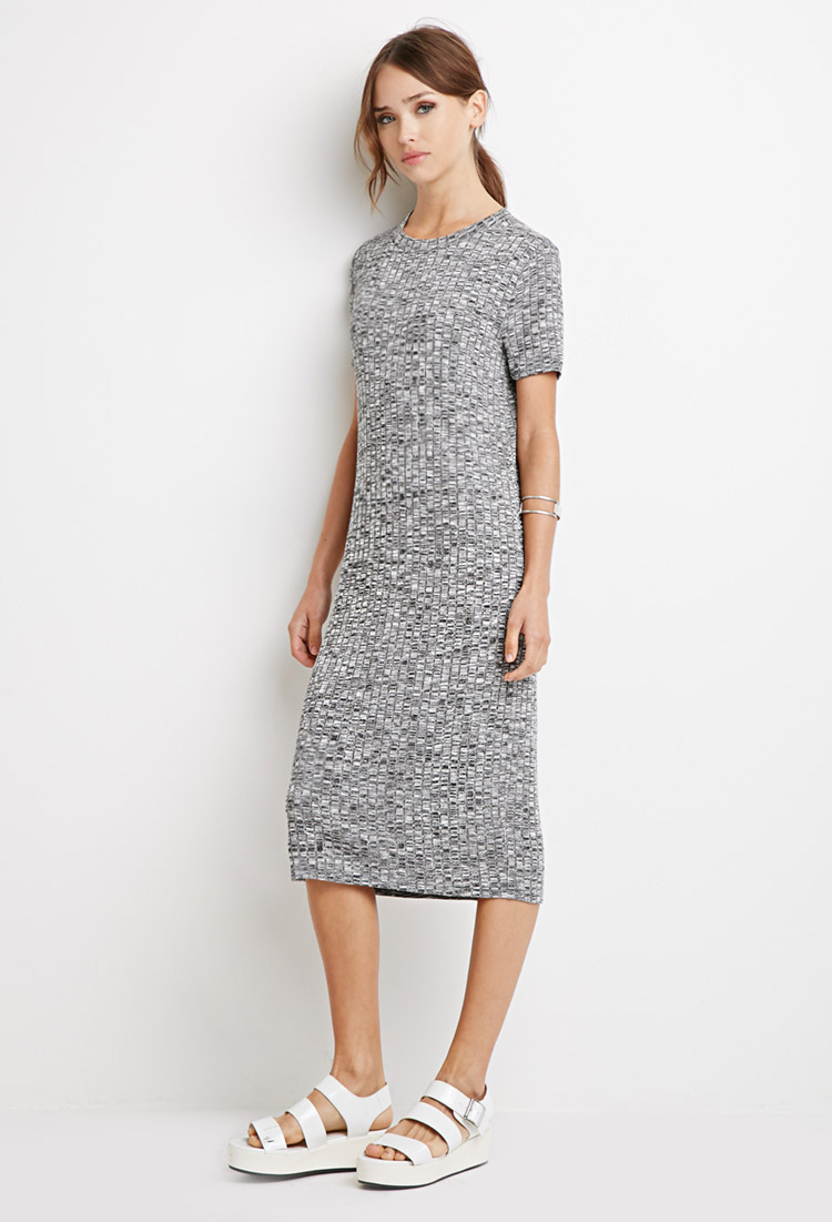 ca752aed01af Forever 21 Marled Keyhole Back Dress in Gray - Lyst