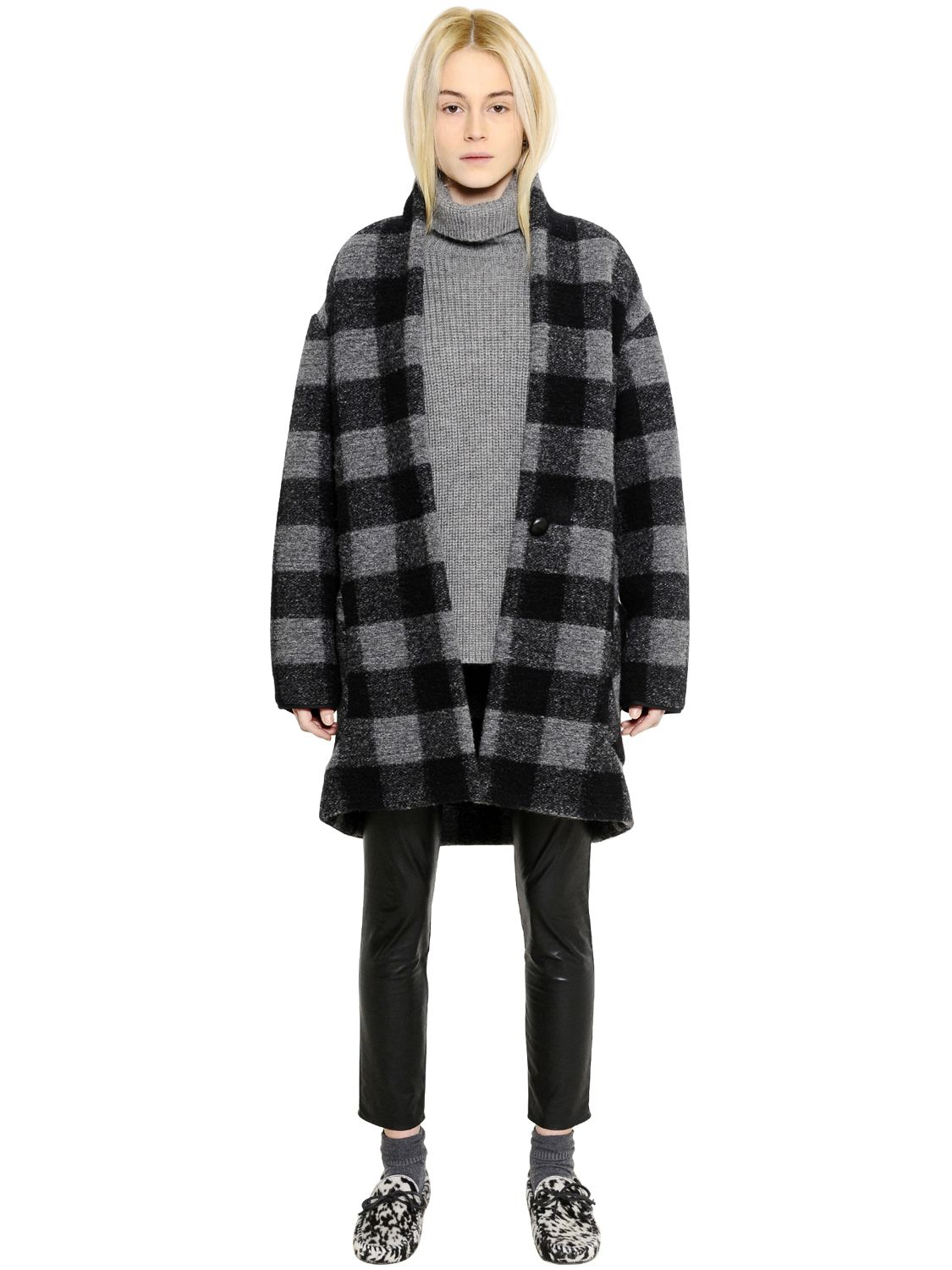 Lyst 201 Toile Isabel Marant Checked Boiled Wool Blend Coat