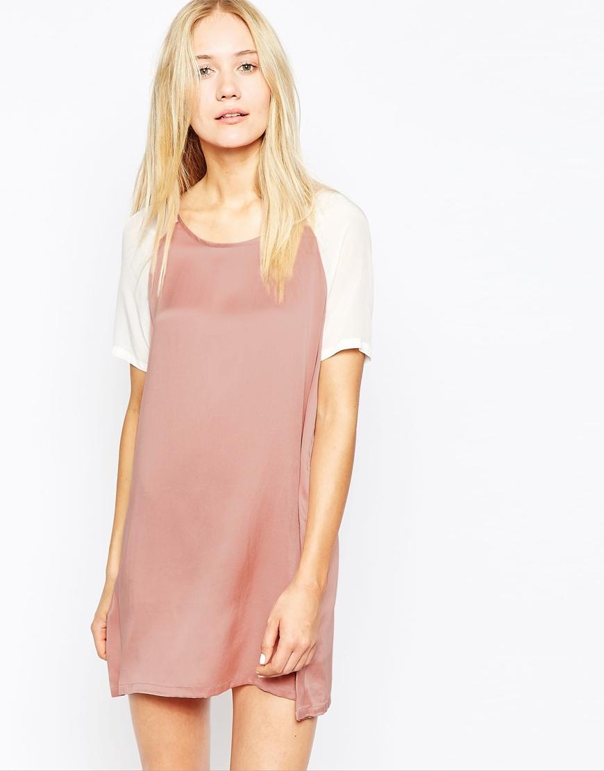 Pop Cph Sand Washed Silk Georgette Dress In Pink Lyst