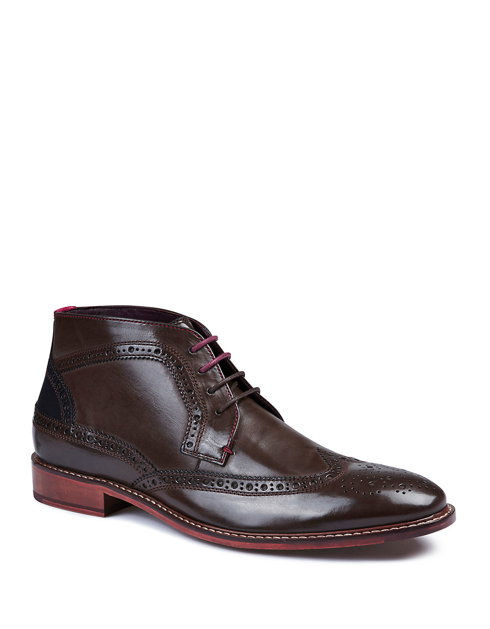 ted baker pericop wingtip leather ankle boots in brown for
