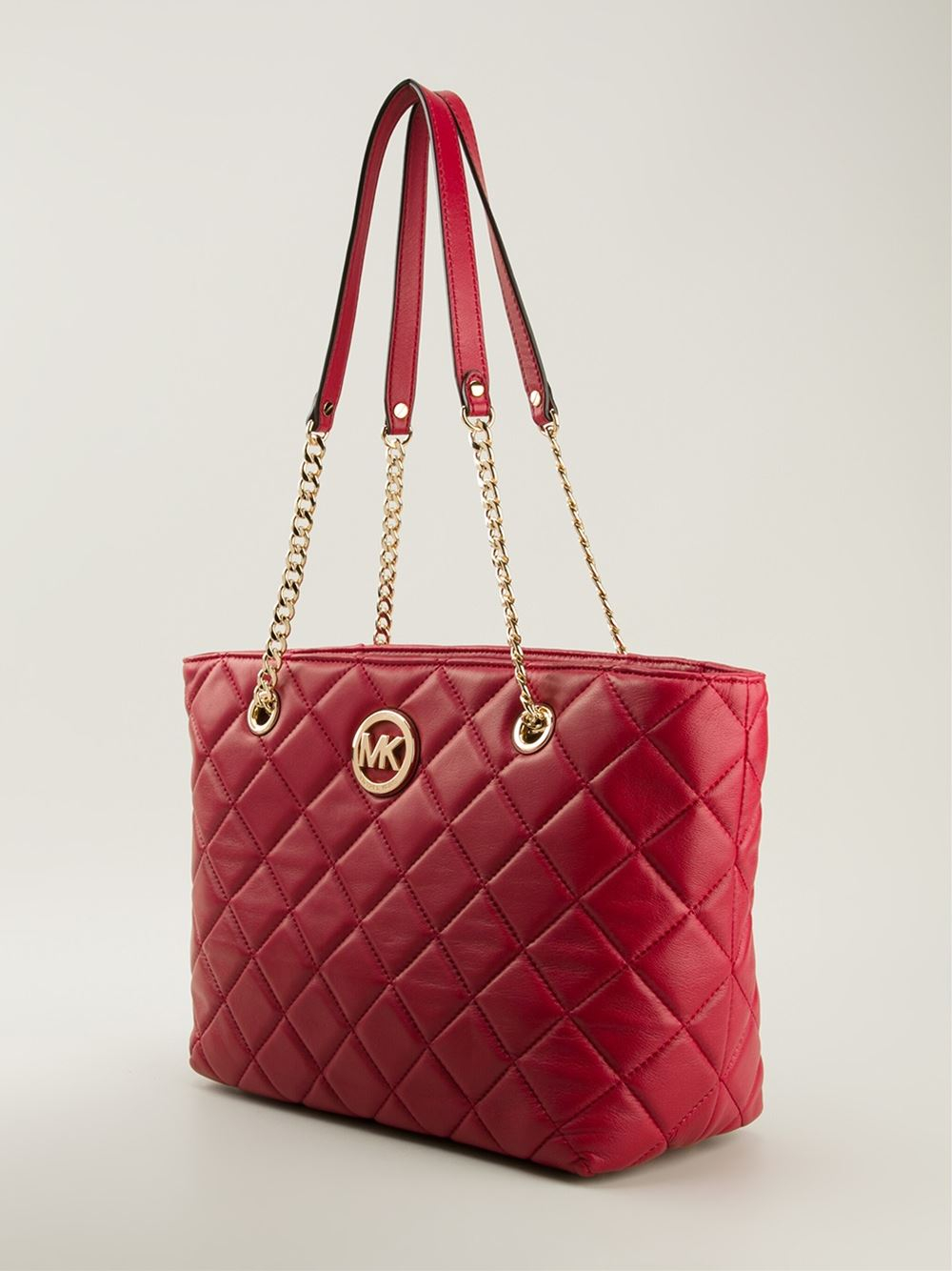 Michael michael kors Fulton Quilted Tote in Red | Lyst