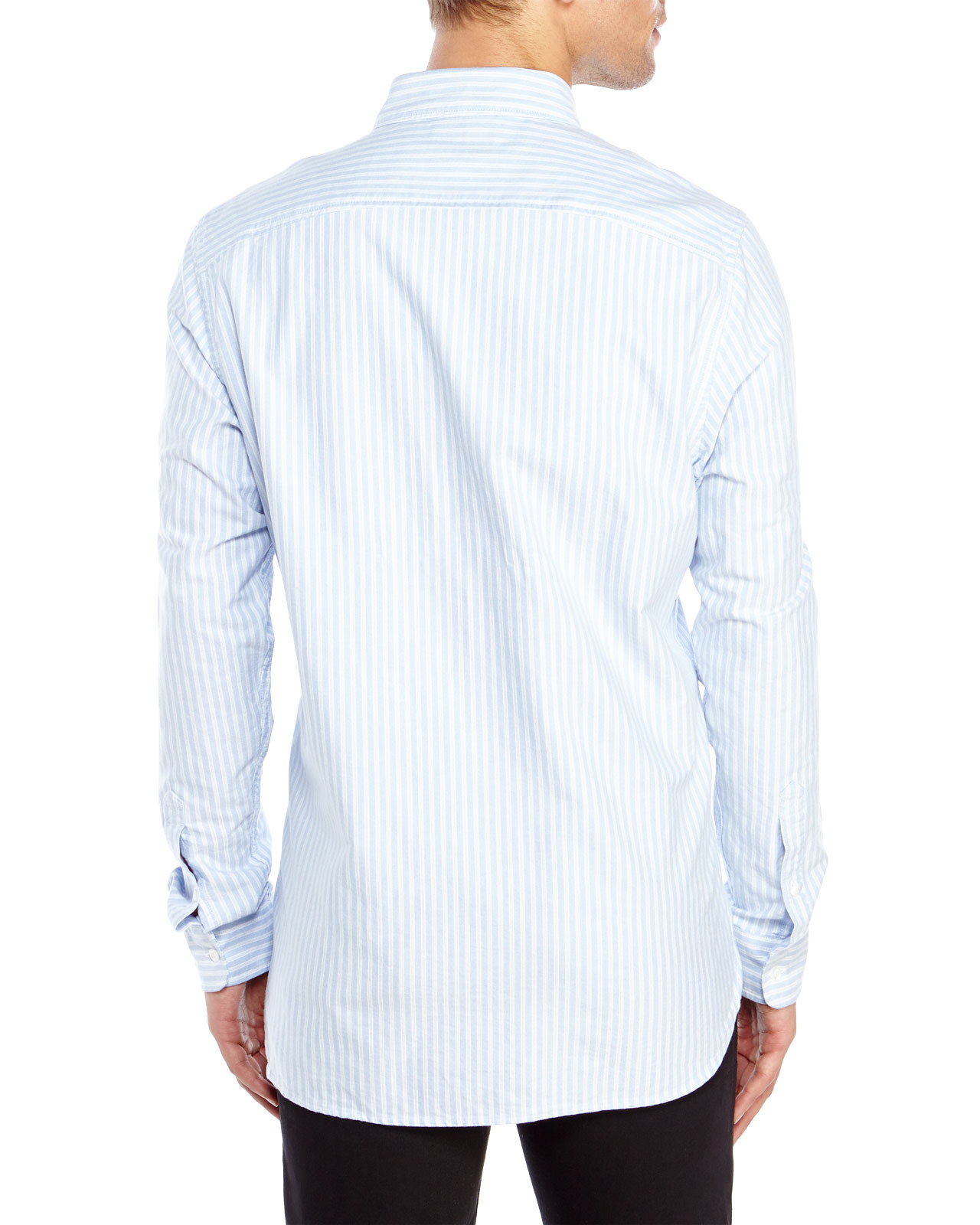 Timberland Striped Button Down Sport Shirt In Blue For Men