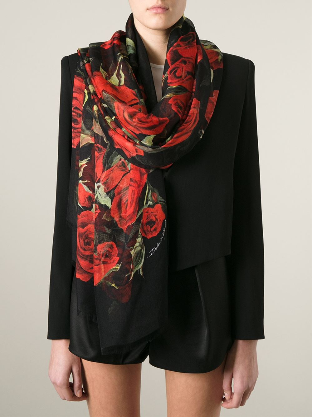 Dolce Amp Gabbana Roses Print Scarf In Red Lyst