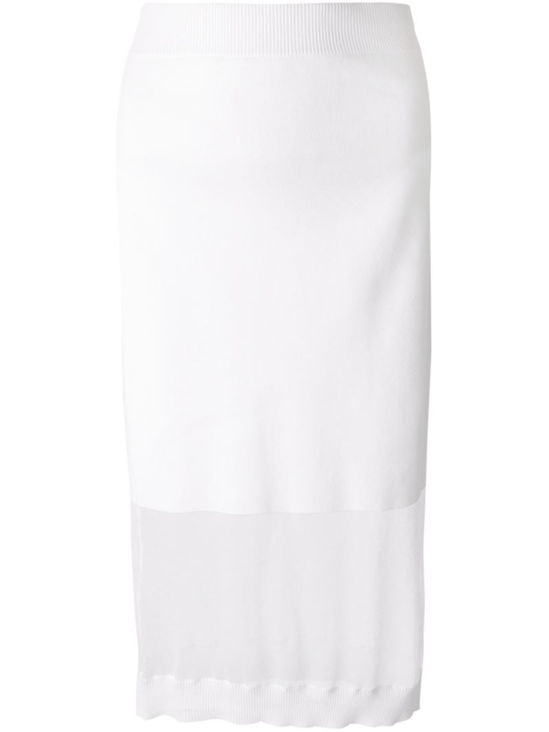 Mcq Sheer Panel Fitted Knit Skirt in White | Lyst
