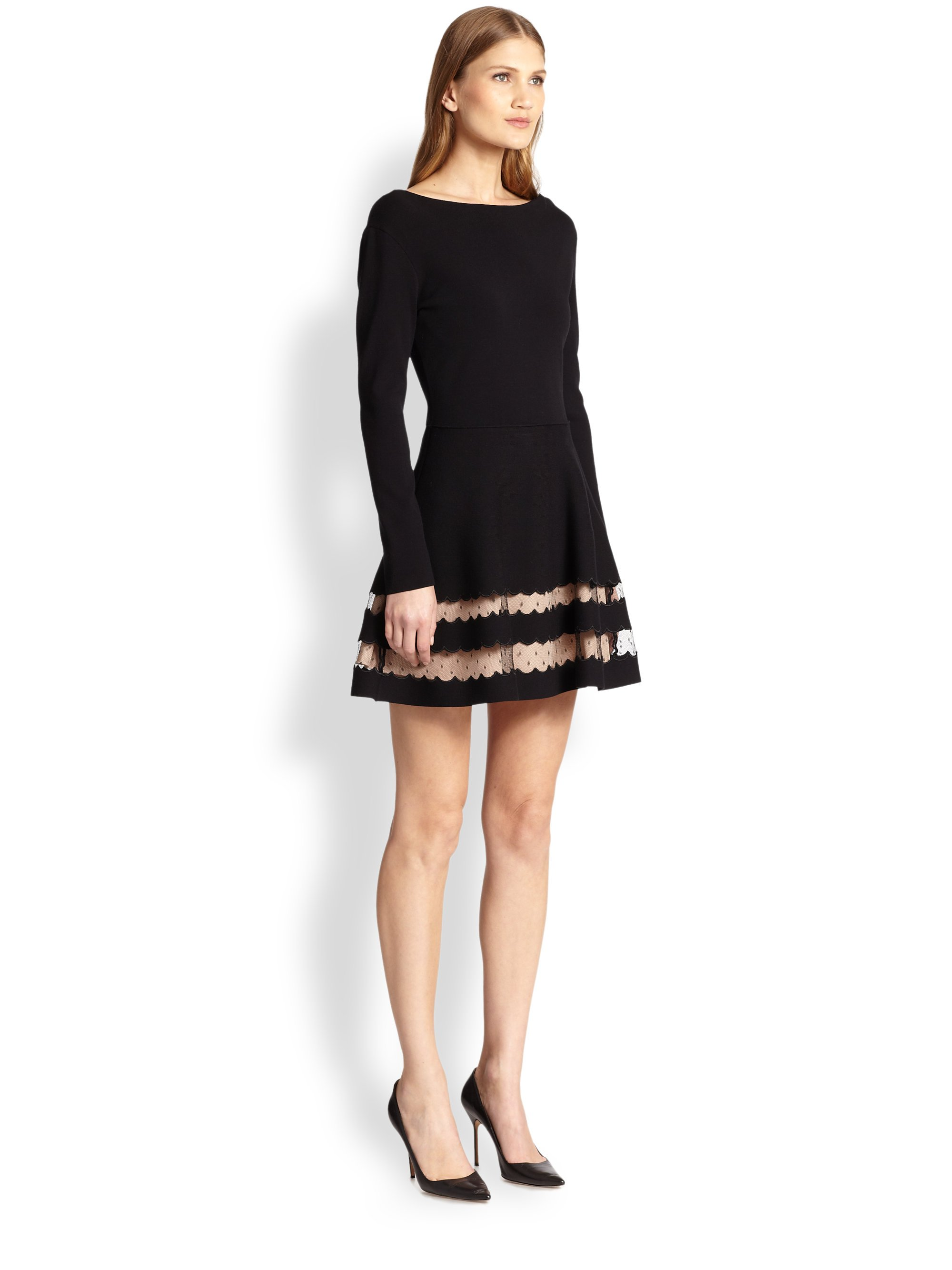36a5250f01281 Lyst - RED Valentino Scalloped Dress in Black