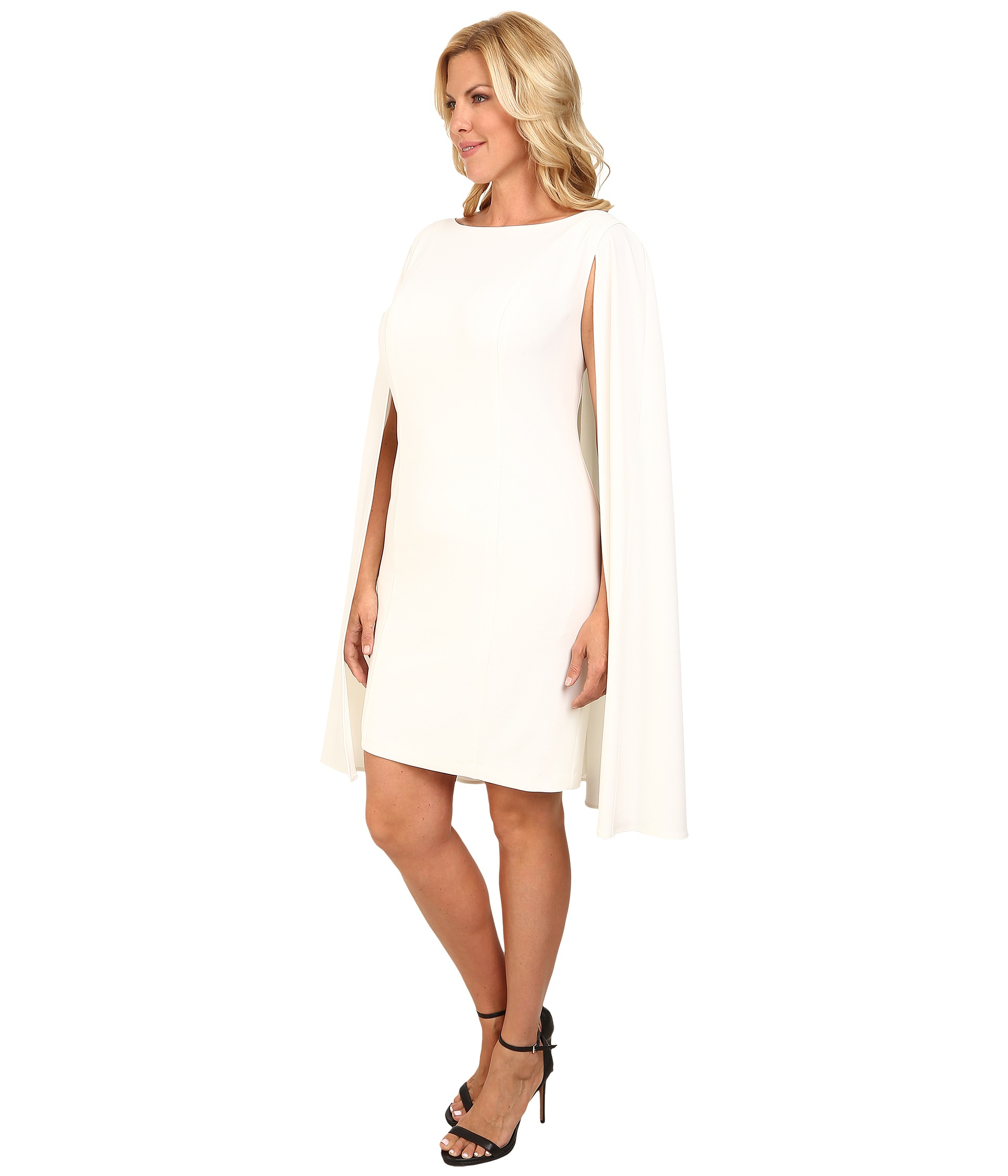 10515701c08 Lyst - Adrianna Papell Plus Size Structured Cape Sheath Dress in White