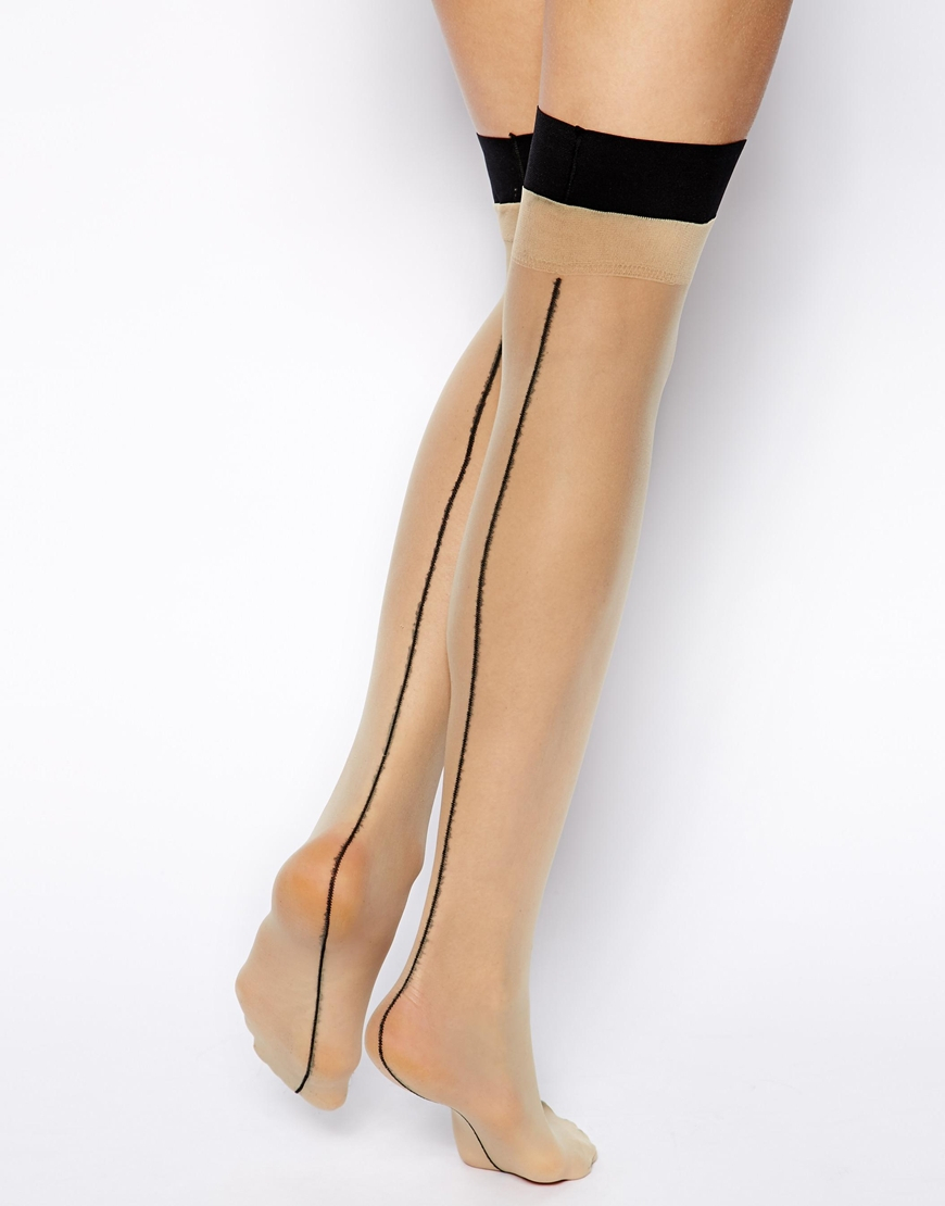 108774e1a15 American Apparel Sheer Luxe Back Seam Hold Up Tights in Black - Lyst